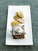 Chocolate and toffee dessert dish