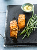 Salmon marinated with garlic,steamed green beans