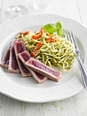 Linguini with pesto and tuna tataki