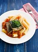 Rigatoni mit Tomatensauce und gegrilltem Wolfsbarschfilet