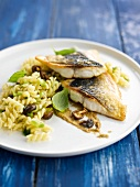 Fusillis with mushrooms,bream fillets with anchovy butter