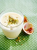 Passionfruit,almond and pistachio milkshake