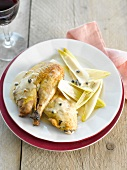 Pheasant with pepper sauce, pan-fried chicory