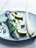 Marinated mackerel fillet with lime, mint and fennel