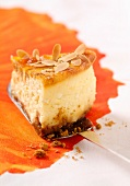 Thinly sliced almond cheesecake
