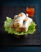Pork,mint and peanut spring rolls