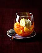 Carrot and orange salad with vanilla ice cream