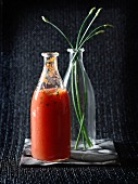 Spicy tomato juice with chives