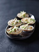 Dog cockle shellfish marinated with ginger and chives