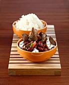 Chili con carne with white rice