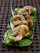 Steamed leg of guinea-fowl stuffed with pesto