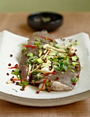 Steamed dab with scallion and 2 peppers
