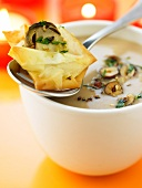 Cream of chestnut soup with hazelnuts and crispy ceps
