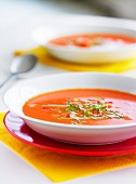 Plates of gazpacho