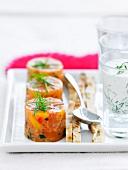 Salmon tartare and tzatziki