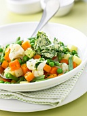 Mixed and diced organic vegetables with parsley