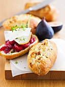 Fig bread with cherries and cheese