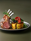 Loin of lamb with rosemary, polenta with cherry tomatoes and black olives