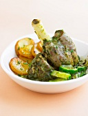 Knuckle of lamb with sorrel, zucchini and sauteed potatoes