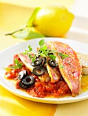 Red mullet fillets with crushed tomatoes and black olives