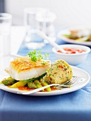 Halibut with green asparagus and vegetable flan