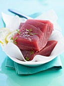 Thick pieces of raw tuna
