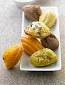 Different flavored savoury mini Madeleines