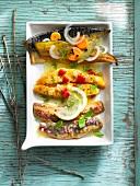 Variety of marinated fish