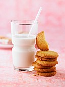 Shortbread butter cookies and a glass of milk