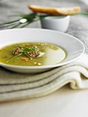 Vegetable soup with foie gras