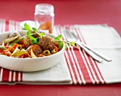 Meatballs with peppers,tomatoes and green olives