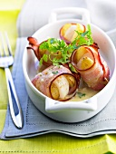 Scallops and Ratte potatoes wrapped in bacon