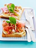 Chabichou-raw ham open sandwich