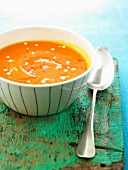 Chilled cream of carrot and coconut milk soup