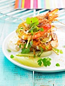 Grilled shrimps with cilantro,basil,lime and fennel