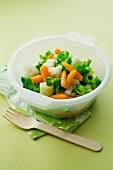 Bowl of steamed vegetables