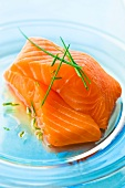 Raw pieces of Norwegian salmon