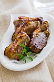 Grilled duck breasts with ceps