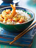 Shrimps with coconut milk and curry,basmati rice