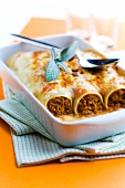 Cannelloni alla bolognese (Mit Fleischsauce gefüllte Nudelrollen, Italien)
