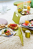 Brunch in a room with a compfortable carpet