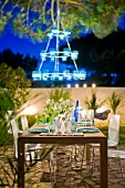 Table presentation at night outdoors