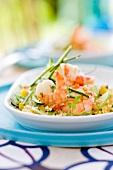Quinoa,yellow pepper,zucchini,apple and shrimp salad
