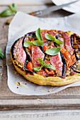 Red mullet,tomato and eggplant tatin savoury tart