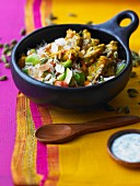 Lamb Biryani with almonds and broad beans