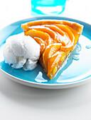 Mango tart with coconut ice cream