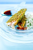 Red mullet fillets in pistachio crust