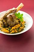 Roasted knuckle of lamb and orange lentil mash