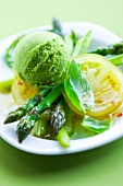 Asparagus in vinaigrette with basil sorbet