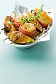 Scallop,bacon and fig brochettes